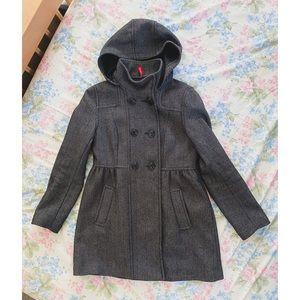 H&M Grey Herringbone Wool Coat w/ Removable Hood